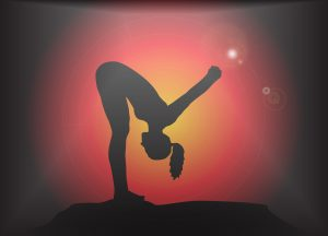48621652 - a yoga woman silhouette performing forward fold with hands lock pose on a dark colourful background with a glare